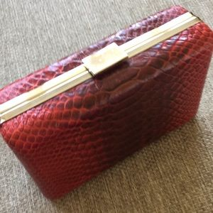 Banana republic red leather box purse croc gold
